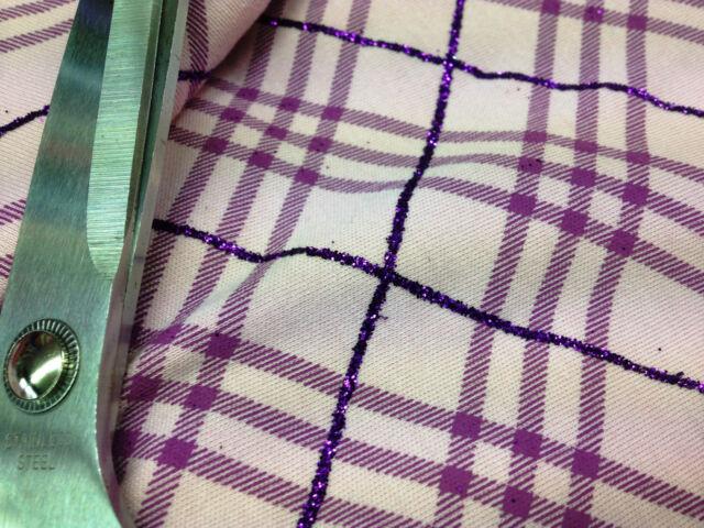 Purple/Pink Stretch ViscoseJersey Glittered Checked Print Dress/Craft Fabric*New