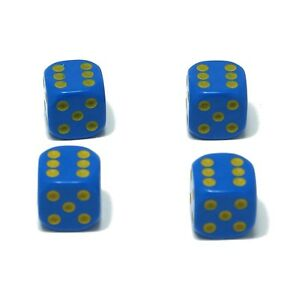 Set-of-Four-Blue-Yellow-spots-Dice-Dust-Caps-X4-80-039-s-Retro-Valve-Caps