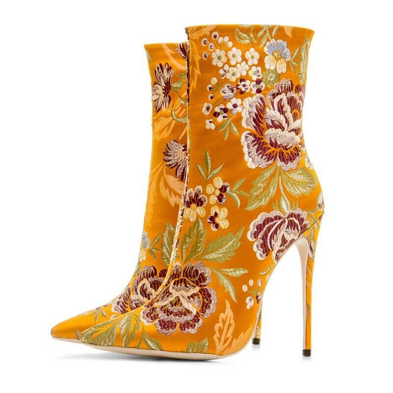 Women Stretch High Heel Pointy Toe Side Zipper Floral Printed Mid Calf Stilettos