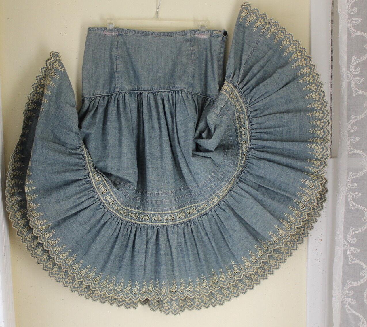 Polo Ralph Lauren -Sz 8 Elegant Tiered Gypsy A-Line Full Western Eyelet Skirt