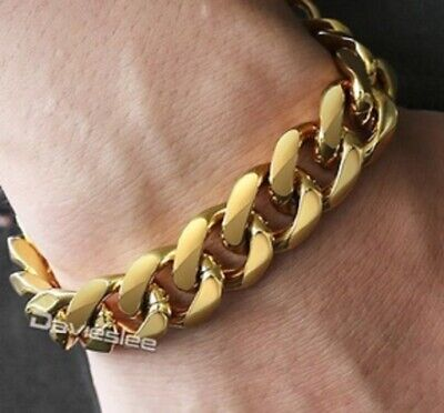 Men/'s Heavy Solid Stainless Chunky Bracelet Cuban Curb Link Chain Gold 14mm