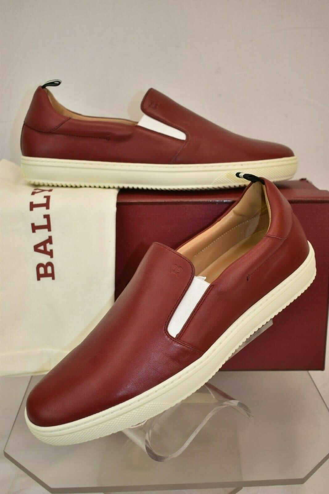 NIB BALLY ORNIEL RED LEATHER LOW TOP LOGO SLIP ON SNEAKERS 7.5 US 40.5