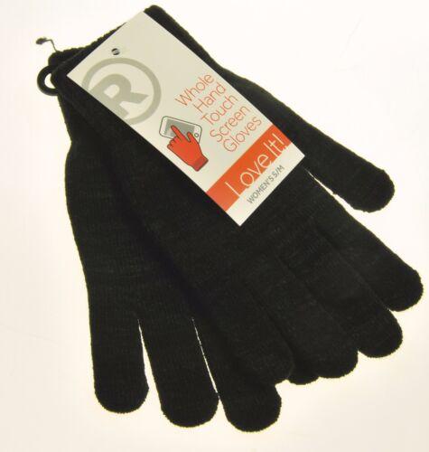 New Radio Shack Whole Hand Touch Screen Gloves Womens Black S//M Small Medium