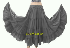 Grey-Women-Cotton-Gypsy-4-Tiered-12-Yard-Skirt-Belly-Dance-Flamenco-Tribal-Jupe