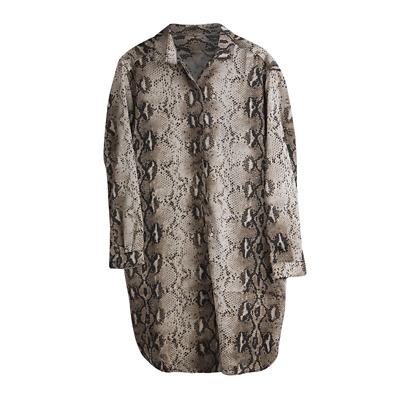Damen Bluse Schlangenkleid Longbluse Damenkleid Schlange Langarm Gr S M L