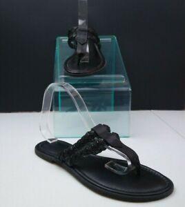 L-L-Bean-Black-Leather-Flip-Flops-Size-9