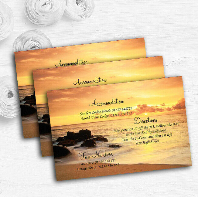 Beautiful Sunset Beach Abroad Personalised Wedding Guest Information Cards