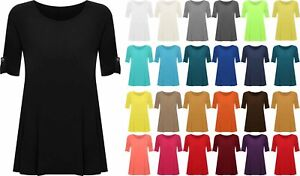 Womens-Plus-Size-Flared-Swing-Mini-Dress-Ladies-Button-Sleeve-Long-T-shirt-Top