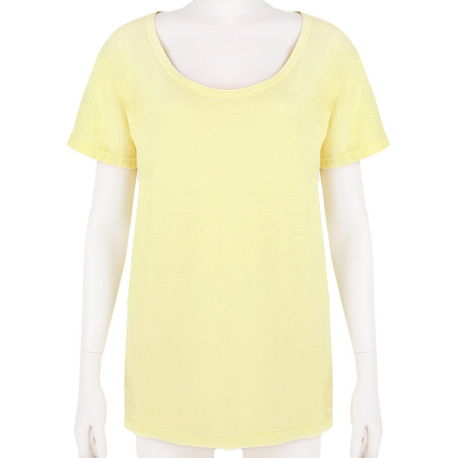 BALMAIN GIALLO SUNSHINE Boyfriend Fit Scollo rossoondo Top T-SHIRT M UK10