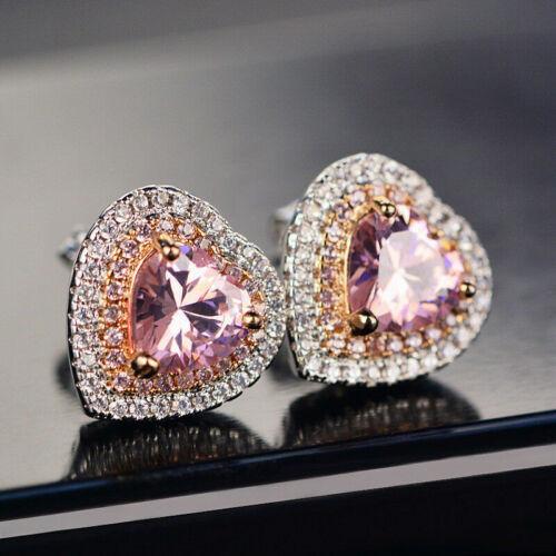 1.50Ct Heart Cut Pink Sapphire Diamond Halo Stud Earring 14K White Gold Finish