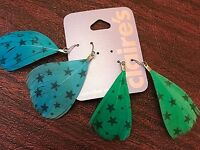Claires Earrings 2 Pairs Of Feather Earrings 1 Green & 1 Blue W Stars