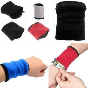 Wrist Wallet Pouch Bag Band Fleece Zipper Running Travel Gym Cycling Sports