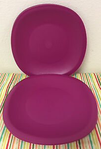 Image is loading Tupperware-Legacy-Dinner-Plates-Set-of-Four-Plum- & Tupperware Legacy Dinner Plates Set of Four Plum 11