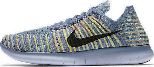 Mujeres Nike Free rn Flyknit tamaño 5.5 (831070 405) Océano Niebla/Negro/mango