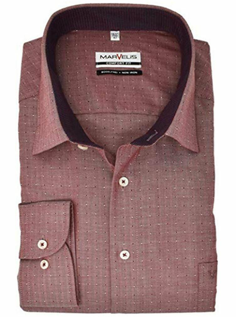 Red Herringbone Spread Collar