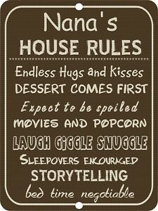 Details about Vintage Retro Style Nanna Nanna's House Rules Funny Metal  Wall Door Sign 9