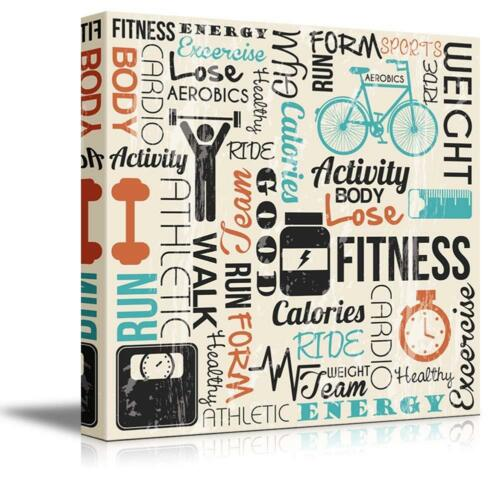 """24/"""" x 24/"""" Wall26 Fitness Design with Typography Canvas Art Wall Decor"""