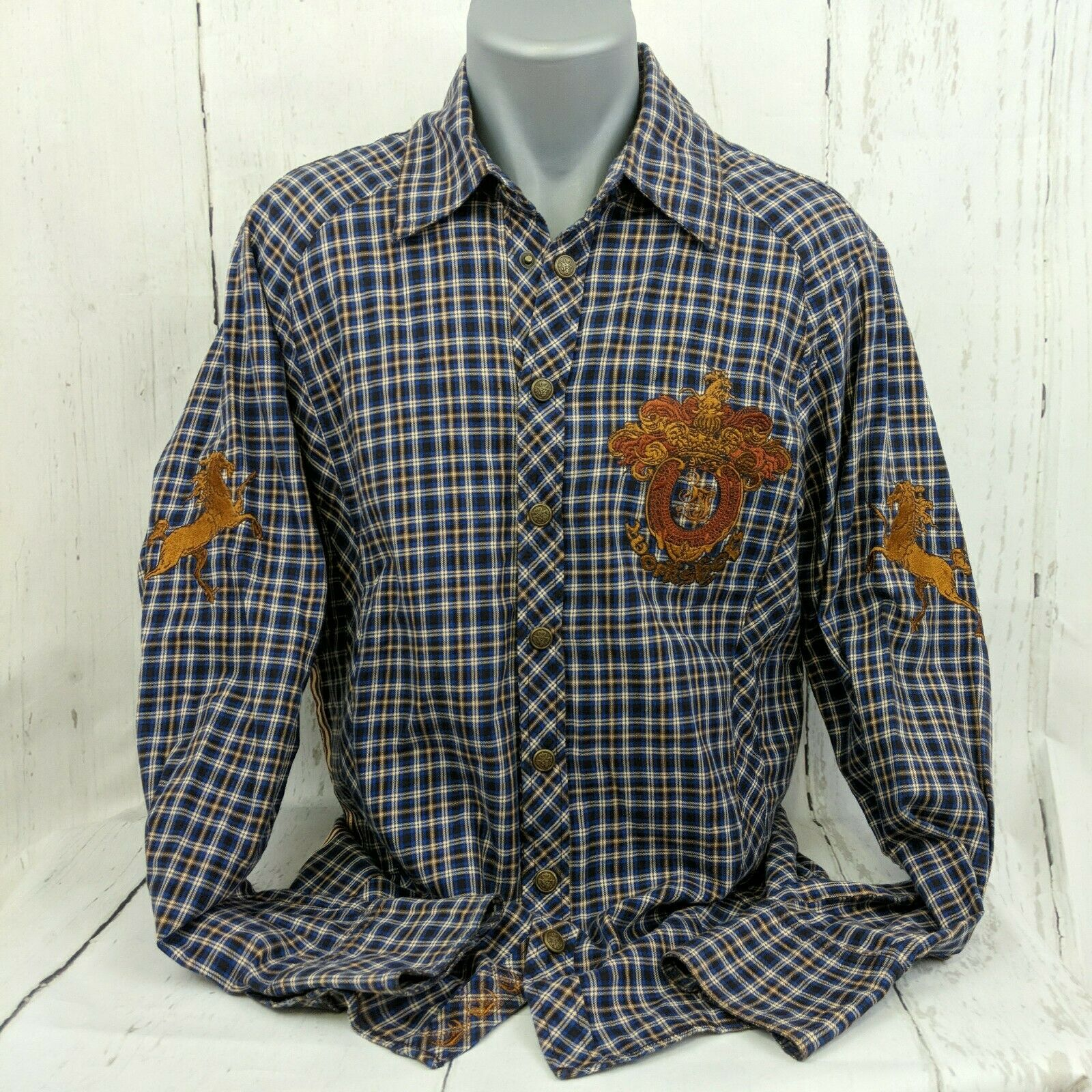 3J Workshop Music Makes Me Strong Plaid Long Sleeve Shirt Embroidered Size Med M