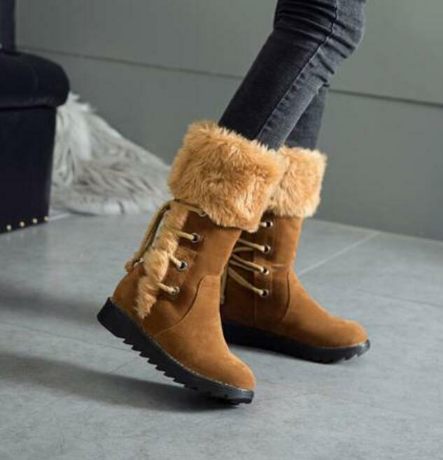 Womens Suede Winter Warm Lace Up British Lace Up Snow Mid Calf Boots Flat shoes