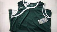 Womens Asics Dark Green & White Sleeveless Basketball Jersey Size Xl Nice