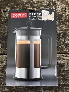 Bodum Kenya French Press Cafetière, En Verre Borosilicaté - 8-cup 1 L, Noir-afficher Le Titre D'origine