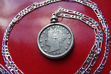 """Antique  pre 1913 Full Liberty Victory Nickel on a 30"""" 925 Sterling Silver Chain"""