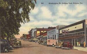 Athens-GEORGIA-Washington-Street-LINEN-old-cars-trucks-signs