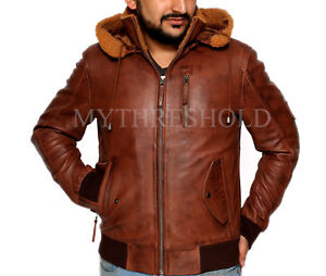 Aviator Retro Leather Mens Tan Jacket Fur Brown Hood Bomber Real OZq4Y