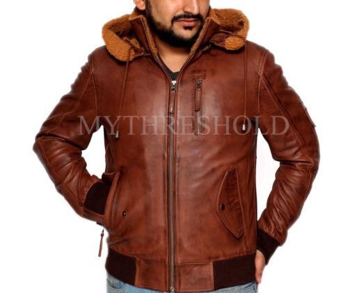Real Jacket Leather Aviator Bomber Brown Tan Mens Fur Retro Hood IPHfBIdq