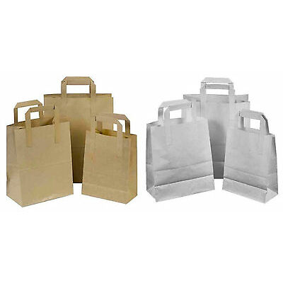 Brown & White Kraft Paper SOS Food Carrier Bags With Handles Party Takeaway ML