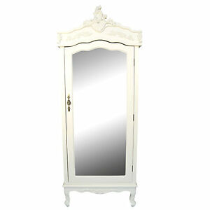 Details About French White Cream Cau Shabby Chic Mirrored Single Door Armoire Wardrobe