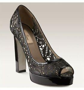 Valentino-Garavani-Women-039-s-Shoes-38-5-Black-8-5-Laser-Cut-Peep-Toe-Pump-Leather