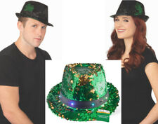 Green Pimp Fedora Hat with Orange Band Great for St Patrick/'s Day