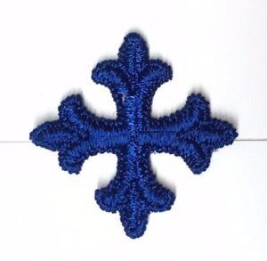 Vintage-Frances-Cruz-1-034-Bordado-para-Coser-Azul-Marino-E-Emblema-Parche-12-Pieza