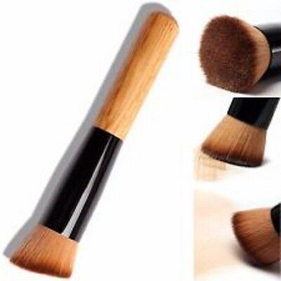 Wooden Liquid Foundation Powder Contour Bronzer Makeup Brush Flat Angled UK!