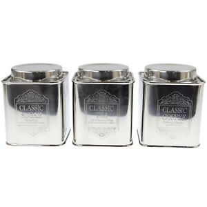 Image Is Loading Set Of 3 Small Tea Coffee Sugar Canisters