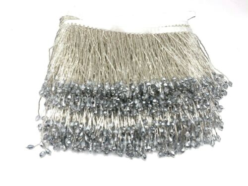 Luxury Teal colour Beaded Tassel Fringe Trimming with Crystal for Costume Dresse