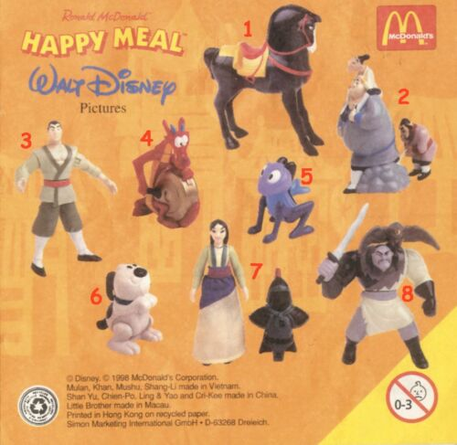 McDonald/'s MC DONALD/'S HAPPY MEAL 1998 DISNEY Mulan Pezzi singoli