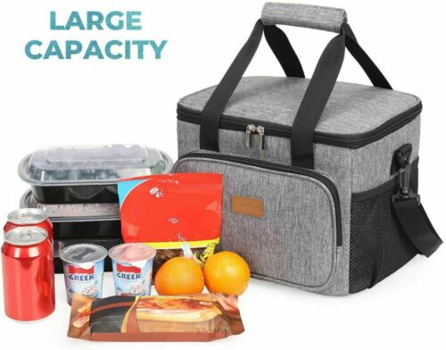 Lifewit Large Lunch Bag Insulated Lunch Box Soft Cooler Cooling Tote...15L Gray