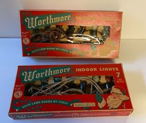Vintage-Christmas-Indoor-Lights-Worthmore-Brand-Quantity-2-Lots-Boxes