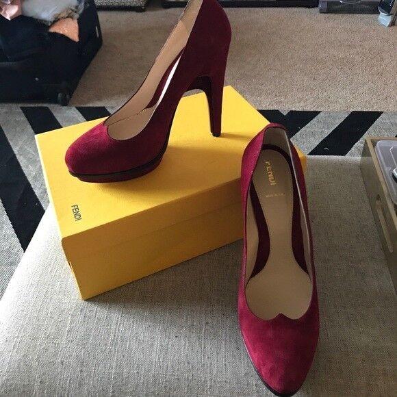 Fendi burgundy red platform heels; NIB; Size 40;  725