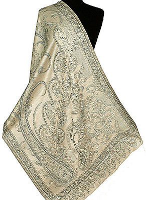 Iridescent Silk  Jamawar India Paisley Shawl Black & White Jamavar Wrap