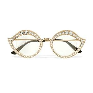 7fe17796bb8 GUCCI Crystal Accented Gold Metal Cat Eye Sunglasses Glasses GG0046S ...