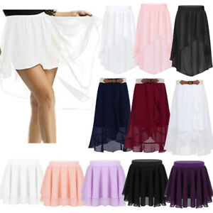 Kids-Girls-Chiffon-Ballet-Leotard-Skate-Tutu-Pull-on-Skirt-Dance-Pleated-Dress