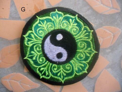 AUFNÄHER PATCH goa psy hippie hippy YIN YANG  yoga OM Esoterik inde Nepal UV