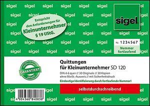 Sigel Formularbuch Quittung Für Kleinunternehmer Sd120 Ebay