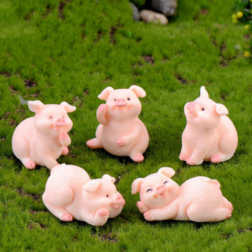 Zodiac Pig Mini Miniature Figurine Fairy Garden Dollhouse Decor Micro LandscapeA