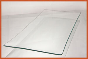 "7"" x 16"" Rectangle Clear ""BENT"" Glass Plate 1/8"