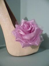 2 Lilac Rose Clips for Shoes