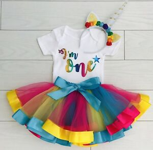 Image Is Loading Girls 1st First Birthday Tutu Skirt Unicorn Outfit